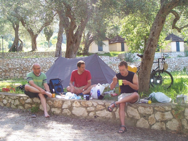 On the camping of Corfu. From left to right: Marc, me and Marco