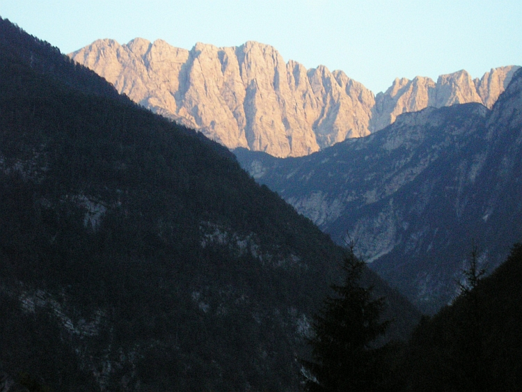 The sun goes down in the Slovenian Alps