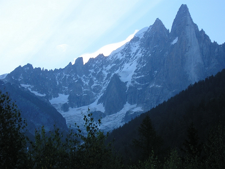 The peaks of the Aiguille du Dru and Aiguille Verte, France