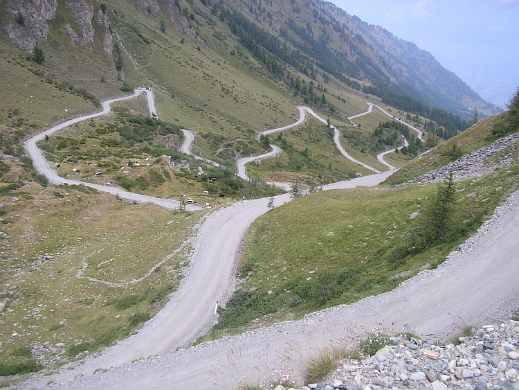 Looking down on the ascent to the Colle delle Finestre from Susa