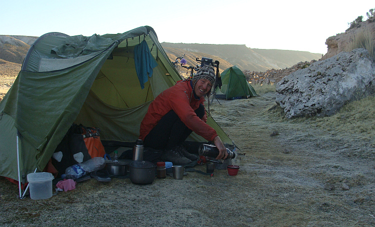 Marten on the campsite on the Altiplano