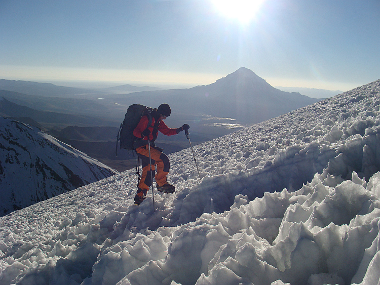 On the climb to the summit of the Parinacota Volcano