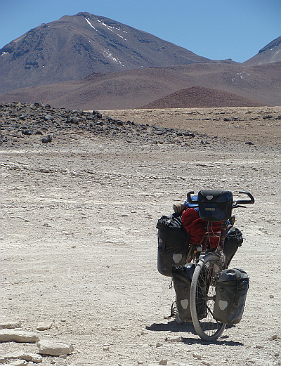 My bike in the deserted landscape of southwest Bolivia