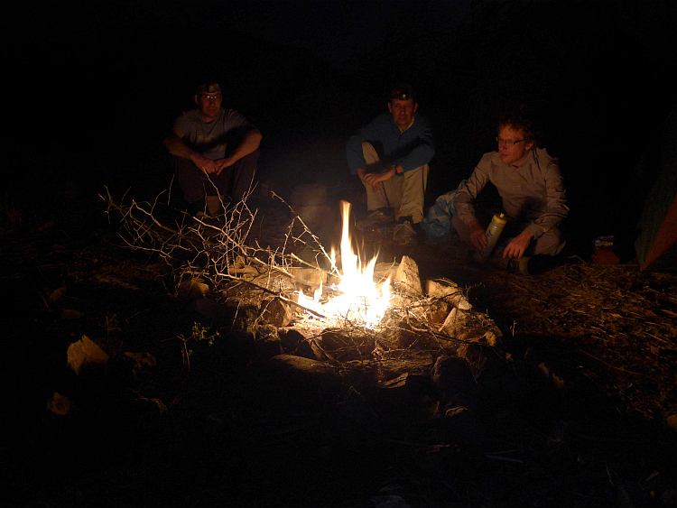 Marc (left), Marco (right) and I (center) near the campfire. Picture of Willem Hoffmans