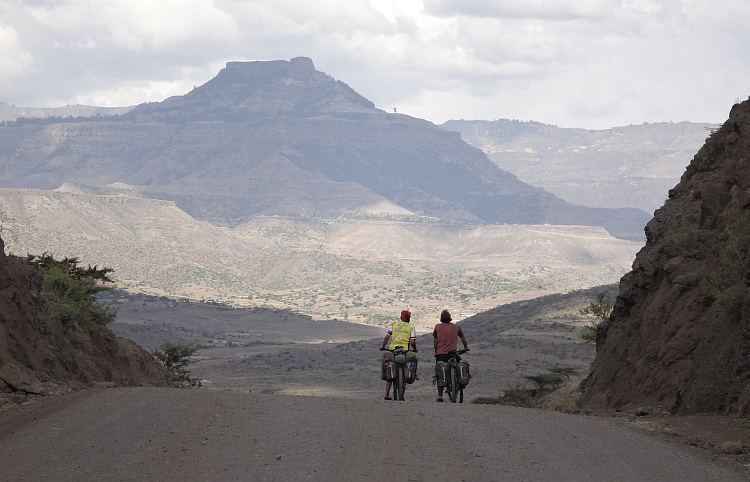 Willem (left) and Marco (right) on the road to Lalibela