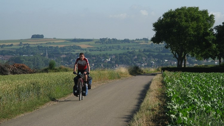 The author in action in the hills of Southern Limburg, Holland. Picture of Willem Hoffmans