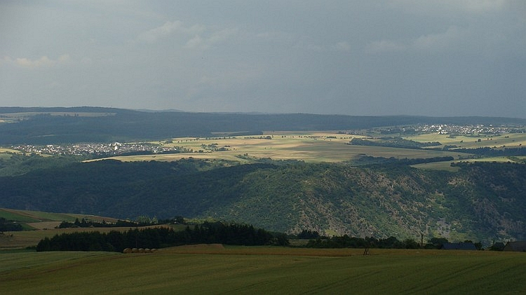 Looking over the Rhine Valley to the hills on the other side of the valley
