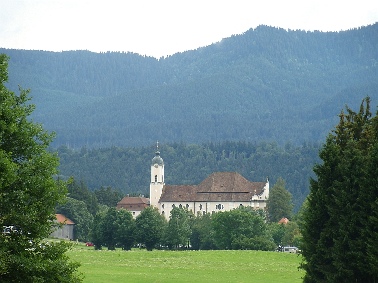 The Wieskirche before the German Alps