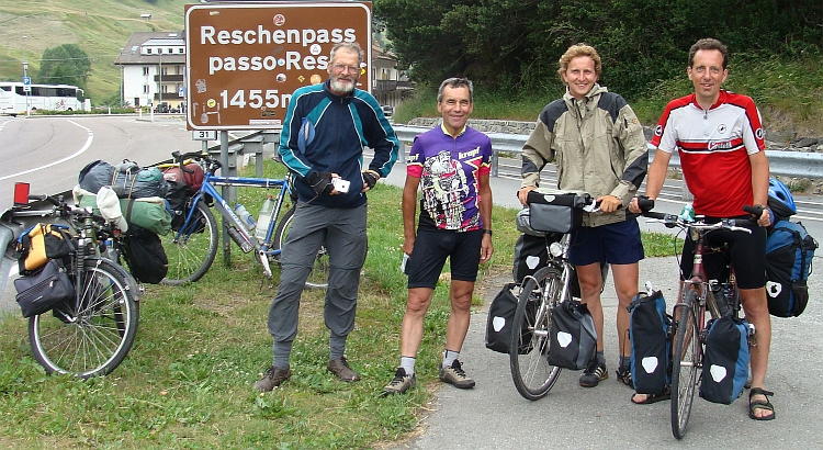 Frank, Hans, Elmar and I Reschen Pass on the border between Austria and Italy
