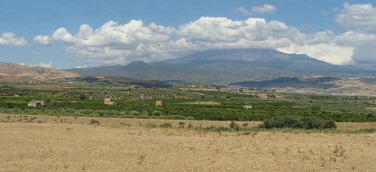 Sicilian landscape near Adrano with the Etna on the background