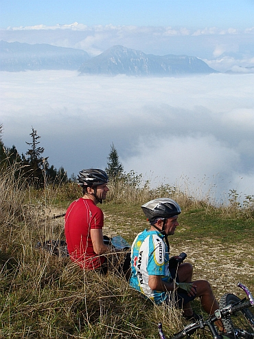 Ron (left) and Willem (right) at the end of the cycling road, Monte Baldo