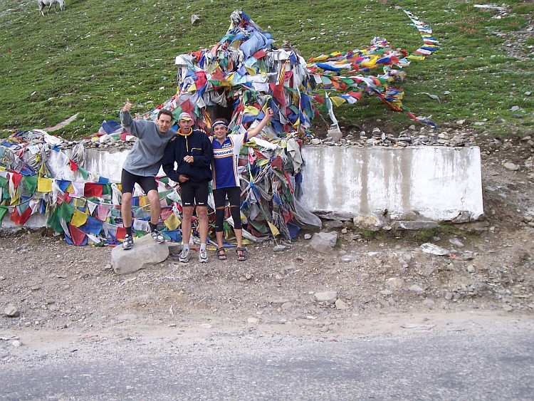 Surrounded by prayer flags on the Rohtang La