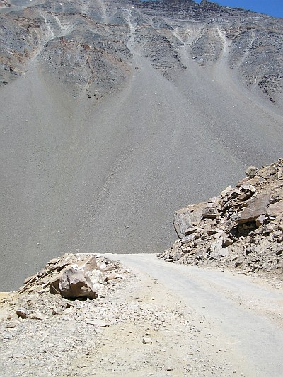 Scree slopes with gravel road. On the way to Baralacha La