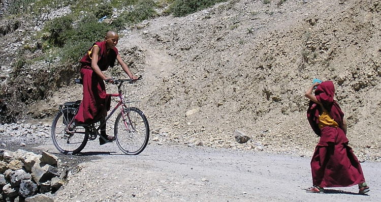 Help! They are taking away our bicycles. Dhankar Monastery
