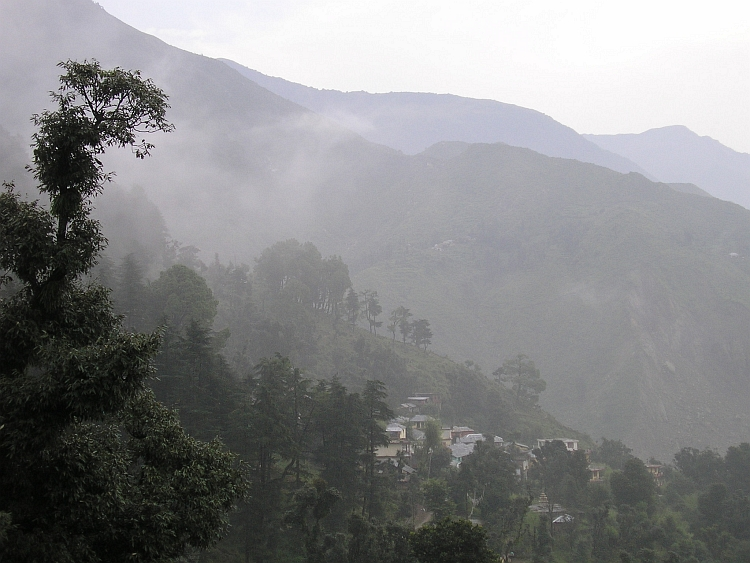 The hills around McLeodGanj shrouded in mists