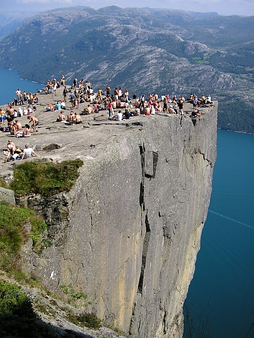 On top of the Preikestolen above the Lysefjord