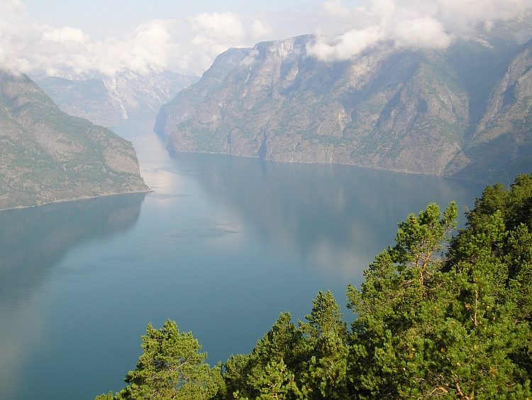 View down to the Aurlandsfjord
