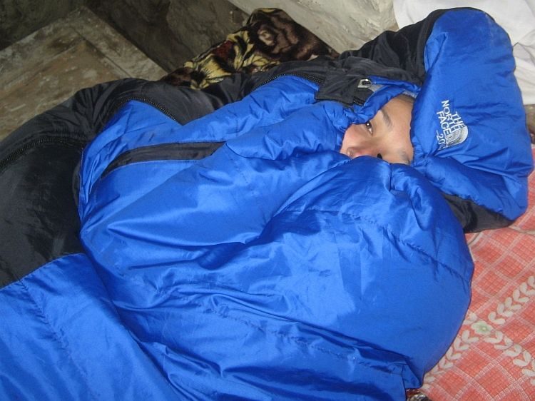 Ruth in sleeping bag