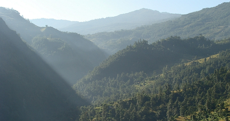 View from Tatopani up to Poon Hill