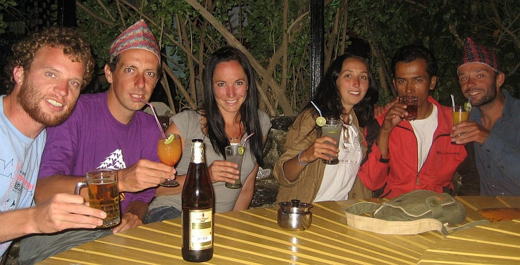 The Shithead Team back in Pokhara: Gary, I, Shannon, Ruth, Shiv and Willem
