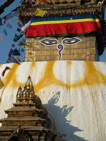 The all seeing eyes of the Buddha, Swayambhunath Stupa in Kathmandu