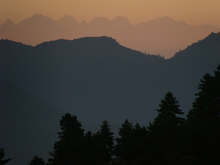 Sunrise at Daman. The third peak from the left is Mount Everest